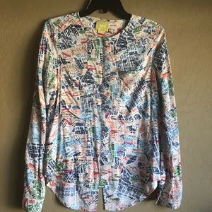 Maeve Cartography Map Print Blouse Size 2